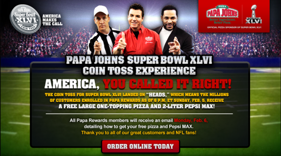 Free Papa Johns Pizza and Pepsi Max - Super Bowl 2012